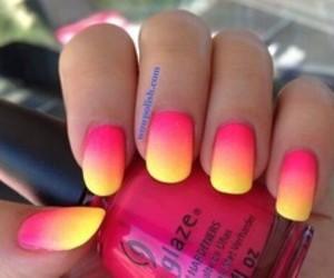 nails, pink, and yellow image