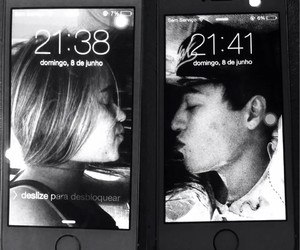 couple, iphone, and kiss image