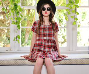 babydoll dress, plaid dress, and red nails image