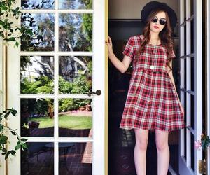 babydoll dress, metal lace rim sunglasses, and black hat image