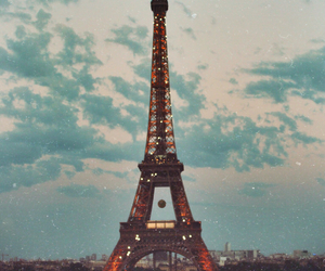 eiffel tower, france, and grunge image