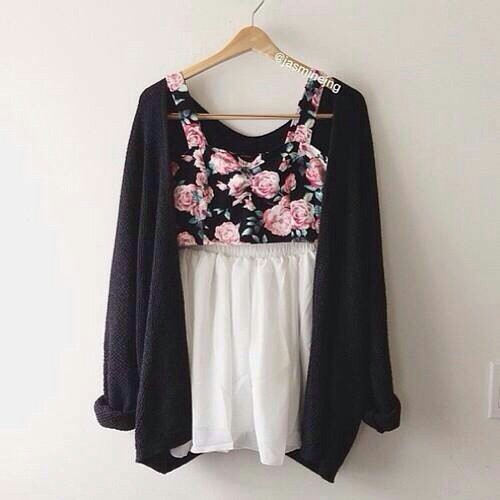 floral, black cardigan, and fashion image