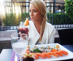 blonde, drinks, and girl image