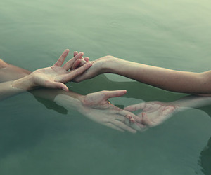 couple, hands, and water image