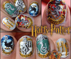 harry potter, nails, and gryffindor image