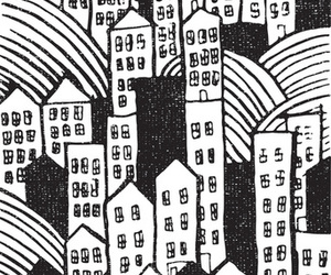 black and white, town, and city image