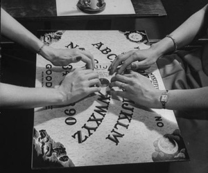 black and white, ouija, and ouija board image