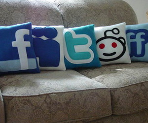 facebook, pillow, and twitter image