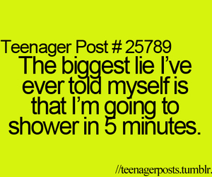 teenager post, lies, and shower image