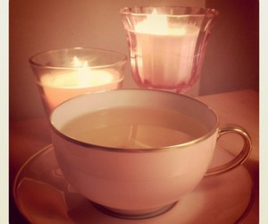 candles, pink, and tea image