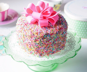 bow, cake, and pink image