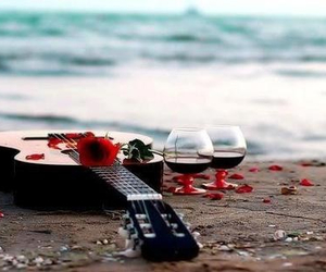 guitar, romantic, and beach image