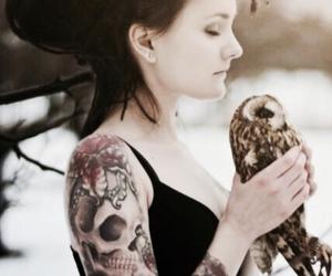tattoo, girl, and owl image