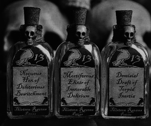 black and white, drink, and horror image