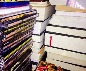 books, chocolate, and games image