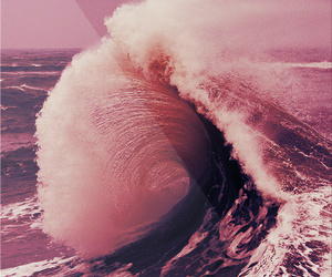 waves, pink, and ocean image