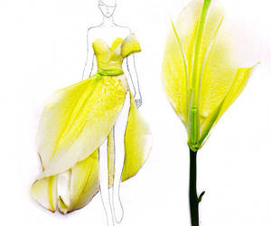 flowers, dress, and yellow image