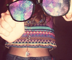 glasses, galaxy, and hipster image