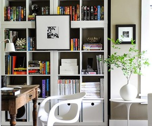 bookshelf, home office, and interior design image