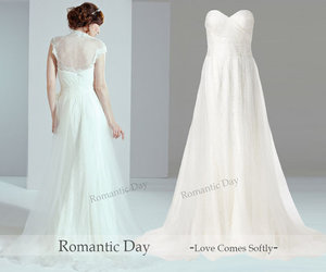 wedding dress, wedding gown, and wedding party image