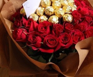 ferrero rocher, red roses, and flowers image