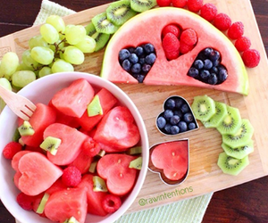 <3, watermelon, and berries image