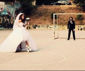football, wedding, and bride image