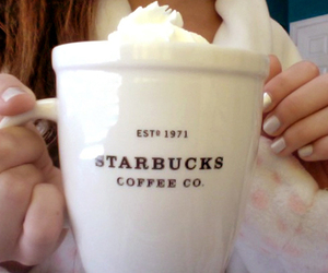 starbucks, coffee, and nails image