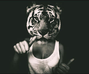 tiger, girl, and black and white image