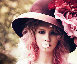 pink, flowers, and hat image