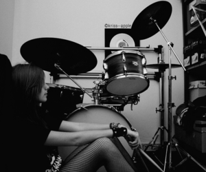 black and white, drummers, and rocker image