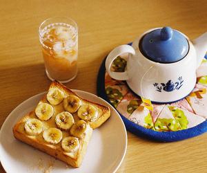 breakfast, tea, and banana image