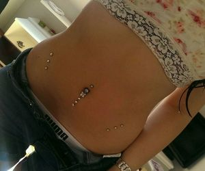 piercing, stomach, and puma image