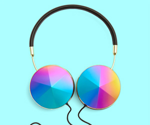 music, blue, and headphones image
