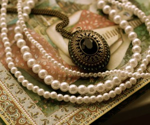 antique, notebook, and pearls image