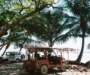 car, beach, and palm trees image