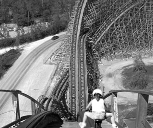 black and white, Roller Coaster, and bike image