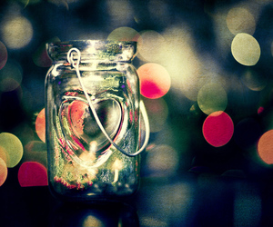 love, heart, and jar image