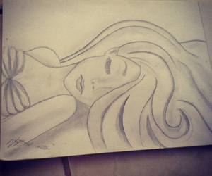 ariel, drawing, and hair image