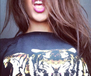 hair, tiger, and brunette image