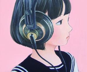 cute girl, pink, and seifuku image