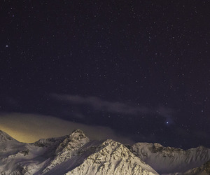 mountains, night, and sky image