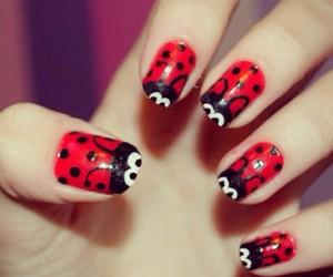 nails, red, and ladybirds image