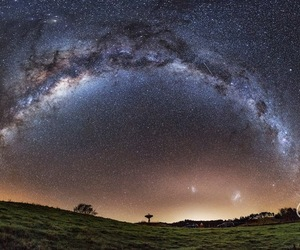 galaxy, landscape, and stars image