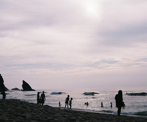 beach, couple, and landscape image