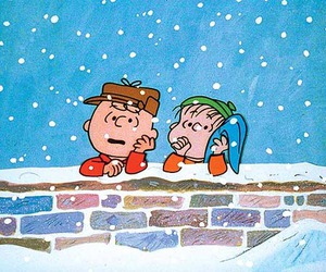 charlie brown, snow, and snoopy image