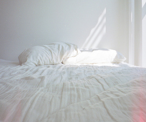 bed, white, and light image