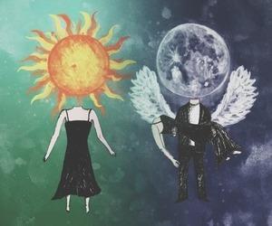 sun, moon, and angel image