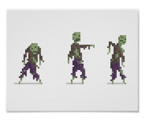 brains, pixel art, and undead image