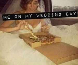 pizza, wedding, and dress image